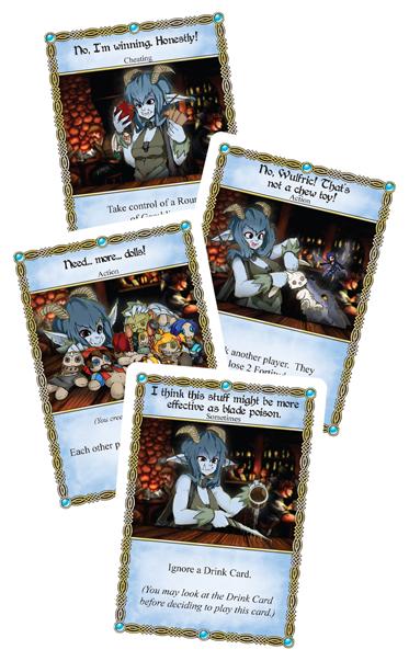 /></div> <p><strong>Components:</strong></p> <ul> <li>40 Card Character Deck</li> <li>6 Debuff Tokens</li> <li>4 Rules Reminder Cards</li> <li>1 Player Mat</li> <li>12 Gold Coin Tokens</li> <li>1 Alcohol Marker</li> <li>1 Fortitude Marker</li> <li>Rules Document</li> </ul> <p style=